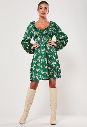 Missguided Green Floral Satin Milkmaid Skater Dress