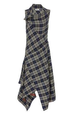 Monse Asymmetric Plaid Crepe Shirt Dress