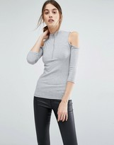 Vero Moda Zip Ribbed Cold Shoulder Top