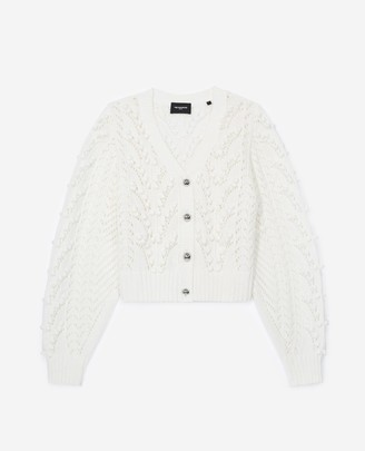 The Kooples Cable-knit ecru cardigan in cotton