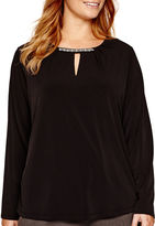 Liz Claiborne Long-Sleeve Beaded-Neck Knit Top - Plus