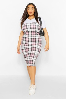 boohoo Plus 2 in1 Rib Check Pinafore Dress