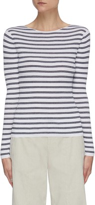 Vince Boat neck striped rib knit top