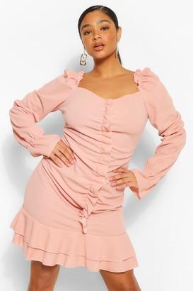 boohoo Plus Ruffle Detail Long Sleeve Skater Dress