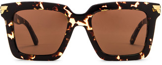 Bottega Veneta Original 05 Oversize Sunglasses in Havana & Brown   FWRD