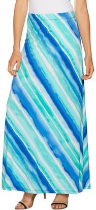 Susan Graver Printed Liquid Knit Maxi Skirt - Petite