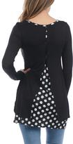 Celeste Black & White Polka Dot Split-Back Tunic - Plus