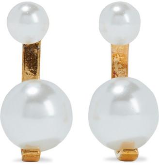Noir Sphere 14-karat Gold-plated Faux Pearl Earrings
