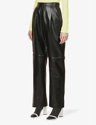 Sportmax Baldo straight-leg high-rise leather pleated trousers