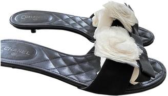 Chanel Black Leather Sandals