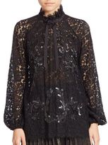 Romance Was Born Sequin Embellished Lace Top