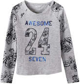 Joe Fresh Kid Girls' Baseball Tee, Light Grey Mix (Size S)