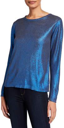 Majestic Filatures Metallic Crewneck Long-Sleeve Sweater
