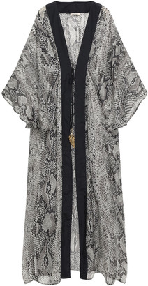 Roberto Cavalli Embellished Snake-print Silk-voile Kaftan