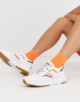 Ellesse contest contrast leather trainers in white