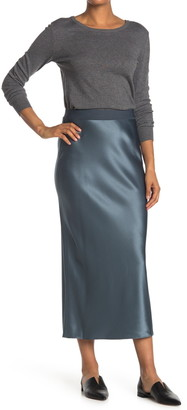 Theory Solid Satin Slit Maxi Skirt