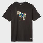 Paul Smith Men's Black 'Cycle Stripe Zebra' Print Organic-Cotton T-Shirt