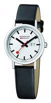 Mondaine Men's Classic 36 mm Big Date Watch with Stainless Steel polished Case white Dial and black leather strap Strap A627.30314.11SBO