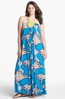 T-Bags Tbags Los Angeles Embellished Halter Maxi Dress (Plus Size)