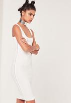Missguided White Zip Side Sleeveless Midi Dress