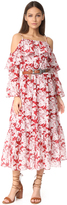 Robert Rodriguez Printed Ruffle Off Shoulder Dress