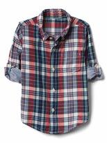 Gap Plaid double-woven convertible shirt