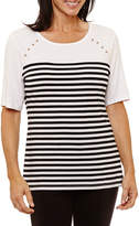 Sag Harbor 3/4 Sleeve Crew Neck Stripe T-Shirt-Womens