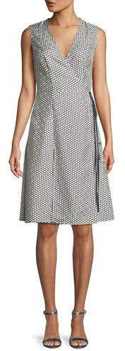 Diane von Furstenberg Sleeveless Silk Side-Tie Flare Dress