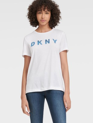 DKNY Women's Embroidered Sequin Logo Tee - White/Bali Blue - Size XS