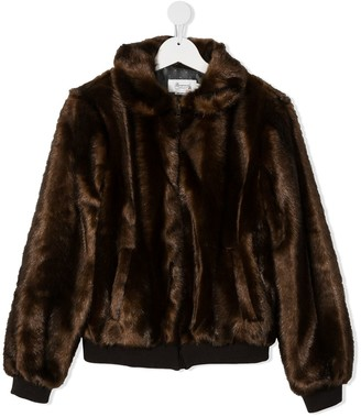 Bonpoint TEEN Paprika faux-fur jacket