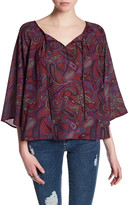 Jack Front Tie 3/4 Sleeve Paisley Blouse
