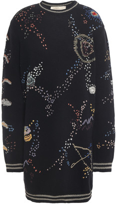 Valentino Embroidered Wool And Cashmere-blend Mini Dress