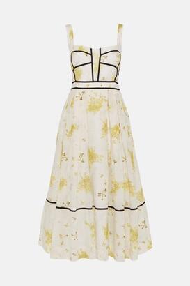 Karen Millen Meadow Floral Corset Detail Silk Cotton Dress