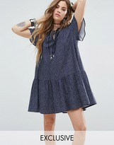 Reclaimed Vintage Inspired Tiered Mini Dress With Tie Up Neck