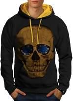 Lucky Smile Skull Poker Chip Men M Contrast Hoodie | Wellcoda