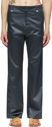 Ludovic de Saint Sernin Grey Satin Suit Trousers