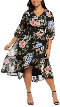 Taylor Plus Size Printed Chiffon Midi Dress