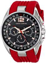 Vince Camuto Men's VC/1052RDSV The Traveler Silver-Tone Multi-Function Red Silicone Strap Watch