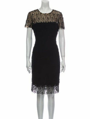 Oscar de la Renta Crew Neck Knee-Length Dress Black