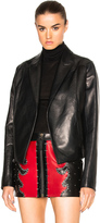 Anthony Vaccarello Cropped Gathered Back Leather Blazer
