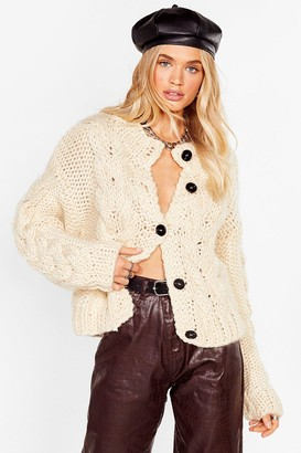 Nasty Gal Womens Butt-On the Up Chunky Knit Cardigan - Beige - S