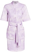 ADAM by Adam Lippes Palm-Print Belted Stretch-Cotton Shirtdress