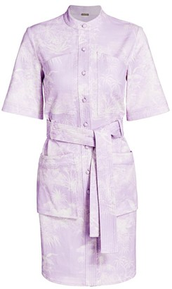 Adam Lippes Palm-Print Belted Stretch-Cotton Shirtdress