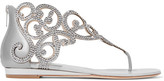 Rene Caovilla Moonlight Crystal-embellished Metallic Leather Wedge Sandals - Silver