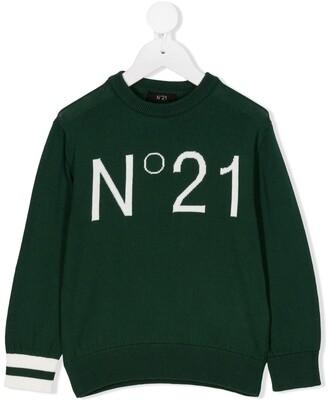 No21 Kids Crew-Neck Logo Jumper