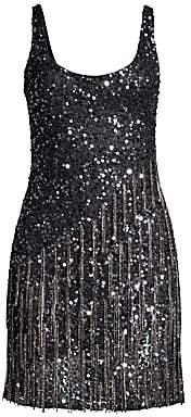Parker Black Women's Reena Embellished Fringe Sequined Mini Dress