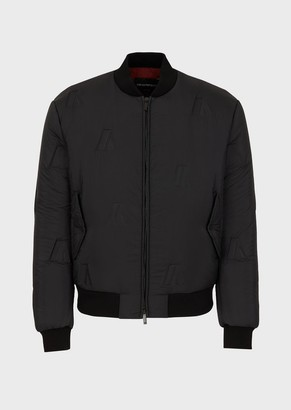 Emporio Armani Padded Bomber In Nylon With Embossed Logo