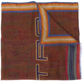 Etro Pegaso-print knitted scarf