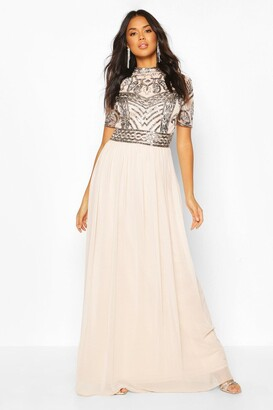 boohoo Bridesmaid High Neck Hand Embellished Maxi Dress