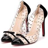 YMING Womens Transparent Shoes Lucite PanelToe Platform Pumps High Heels 7.5